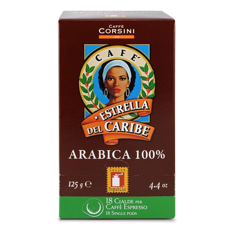 Caffè Corsini Estrella Del Caribe 100% Arabica 12x 18 ESE-Pads je 7 g gemahlen