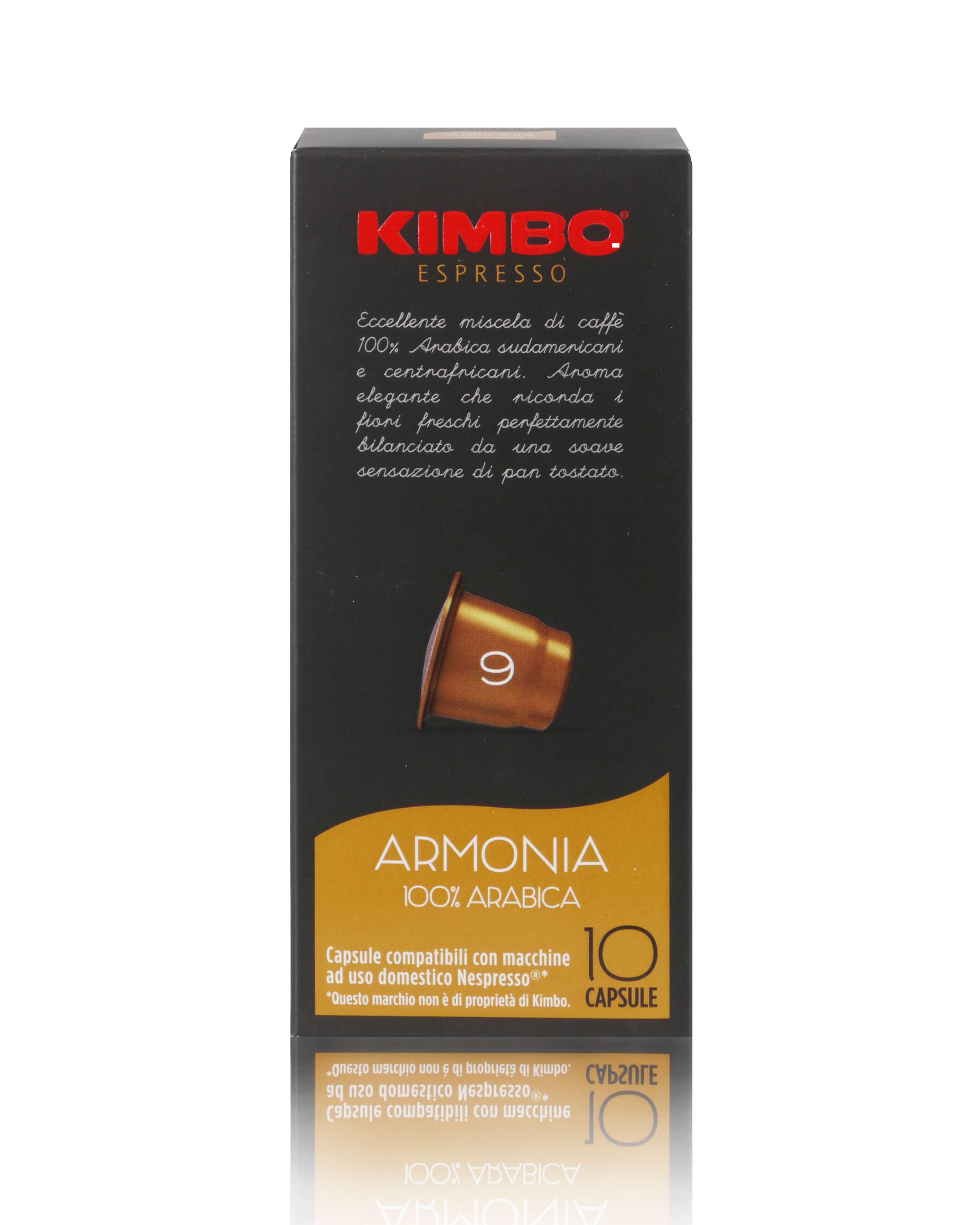 KIMBO Armonia Kapseln - Nespresso® kompatibel 10x 10 Kapseln je 5,8 g gemahlen